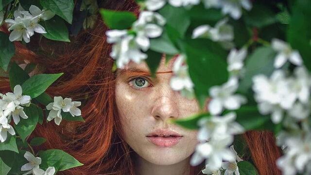 花の垣根からこちらを見る女性の顔